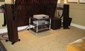 METEX: стереосистема в кабинете – акустические системы Audio Physic Sitara 25, сабвуфер  Audio Physic Rhea II, CD плеер  и усилитель Trigon.